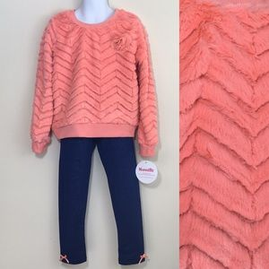 Nannette kids peach faux fur outfit